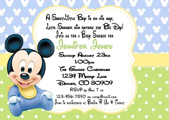 Mickey Mouse Baby Shower Invitation Printable Pdf Products