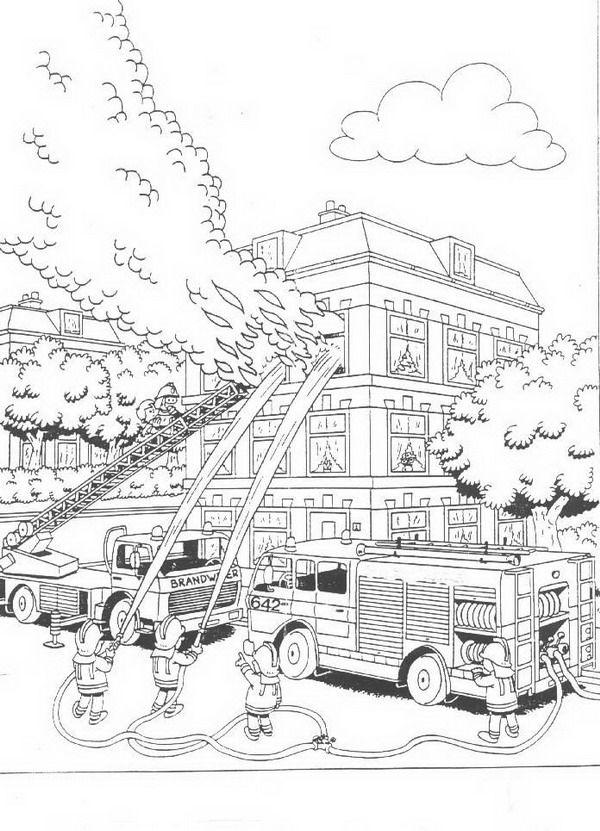 Coloring page Fire brigade Fire brigade on Kids-n-Fun.co ...