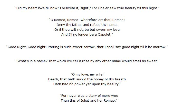 Famous Romeo And Juliet Quotes Classy Most Famous Quotes Of Romeo And Juliet Romeo And Juliet
