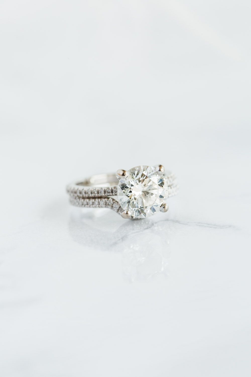Merveilleux Gorgeous Solitaire Round Engagement Ring And Matching Pavé Wedding Band,  Intimate San Diego Catamaran Resort