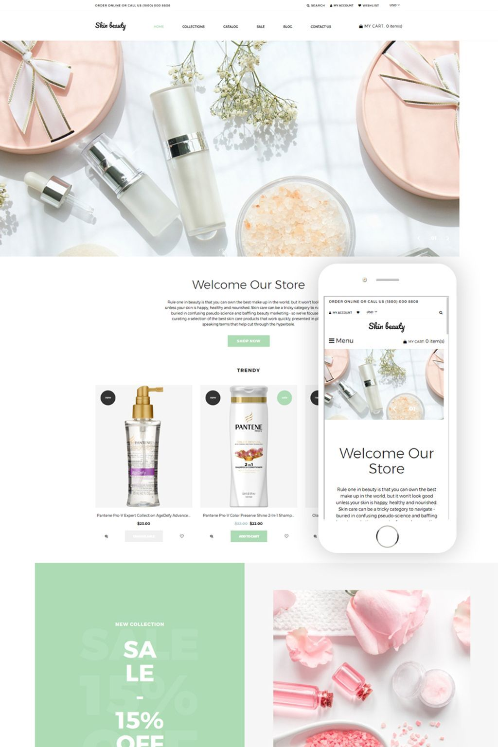 Skin beauty Cosmetics Store Clean Shopify Theme 77630
