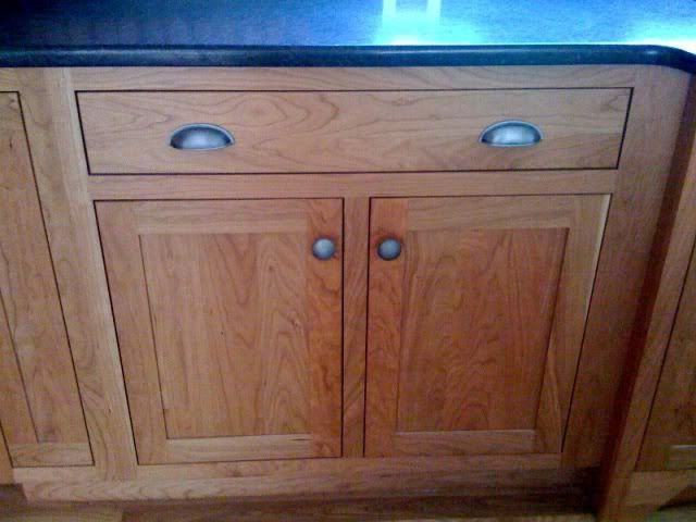 Natural Cherry Cabinets And Cup Pulls On Drawers. Dark Counter. Oh Dear. I