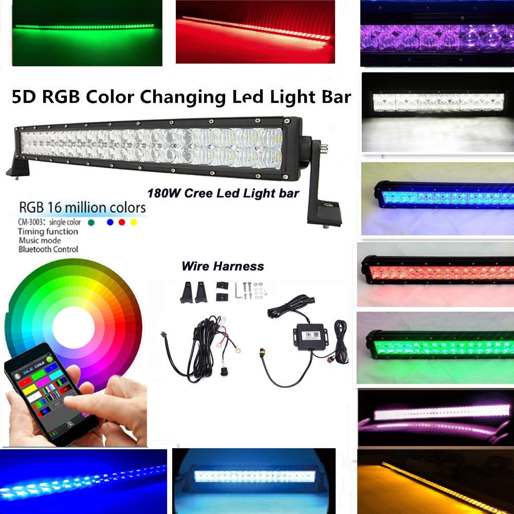Iov Light 32 180w 5d Cree Led Light Bar 10 30v Combo Beam With Rgb 16millions Color Changing By Blueto Bar Lighting Rgb Led Lights Led Warning Lights