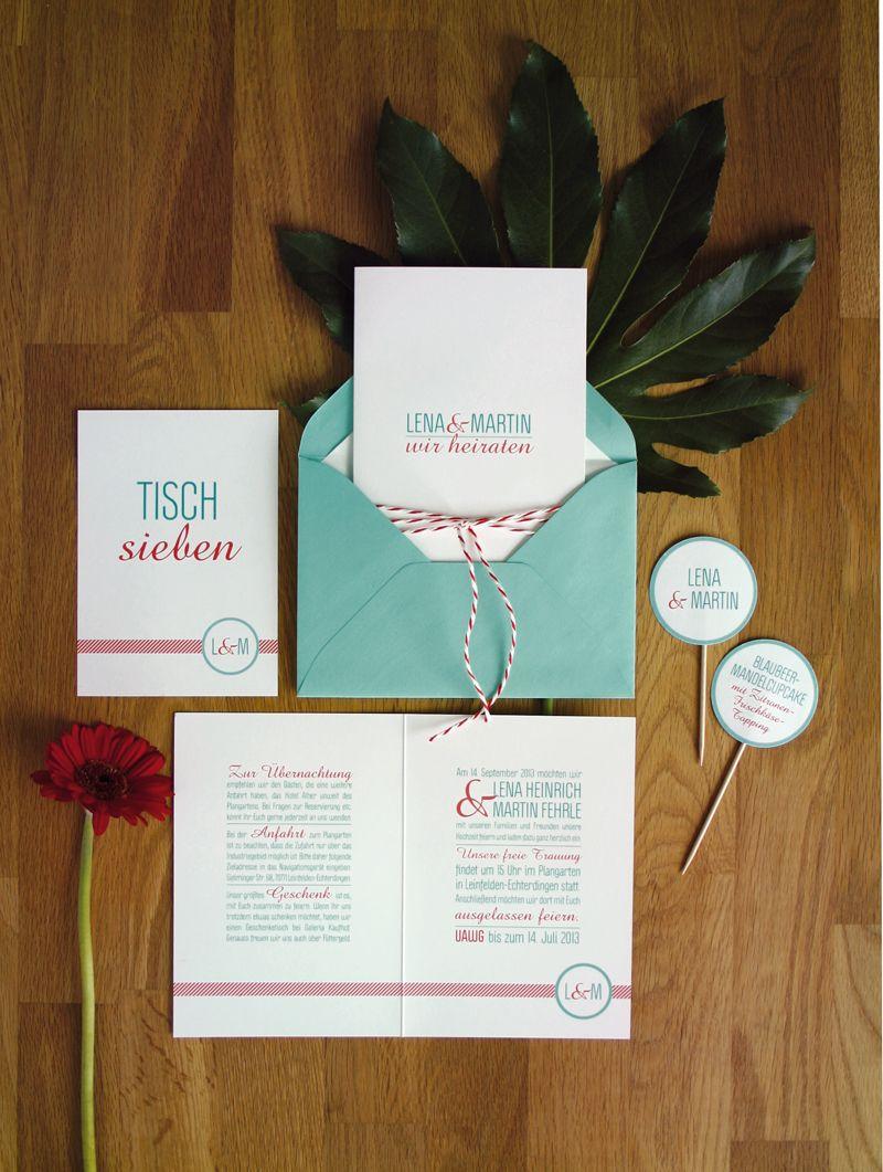 Hochzeitseinladung Turkis Und Rot Wedding Invitation Aqua And Red