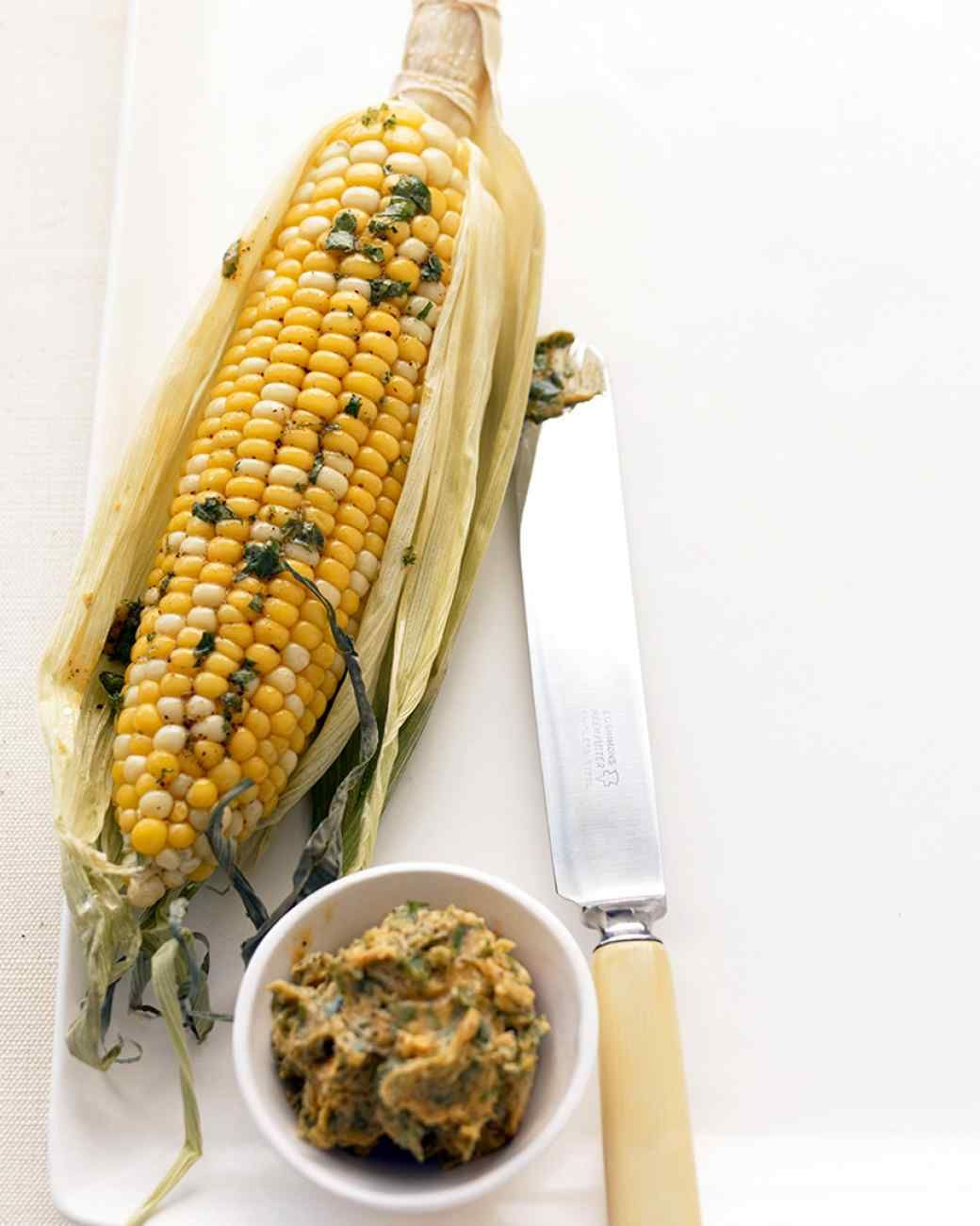 Corn with Cilantro-Lime Butter   Martha Stewart   add grated cotija or parmesan cheese, for sprinkling