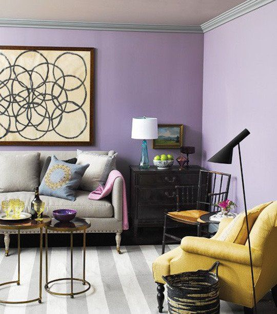 Light And Dark Purple Painted Walls In The Living Room
