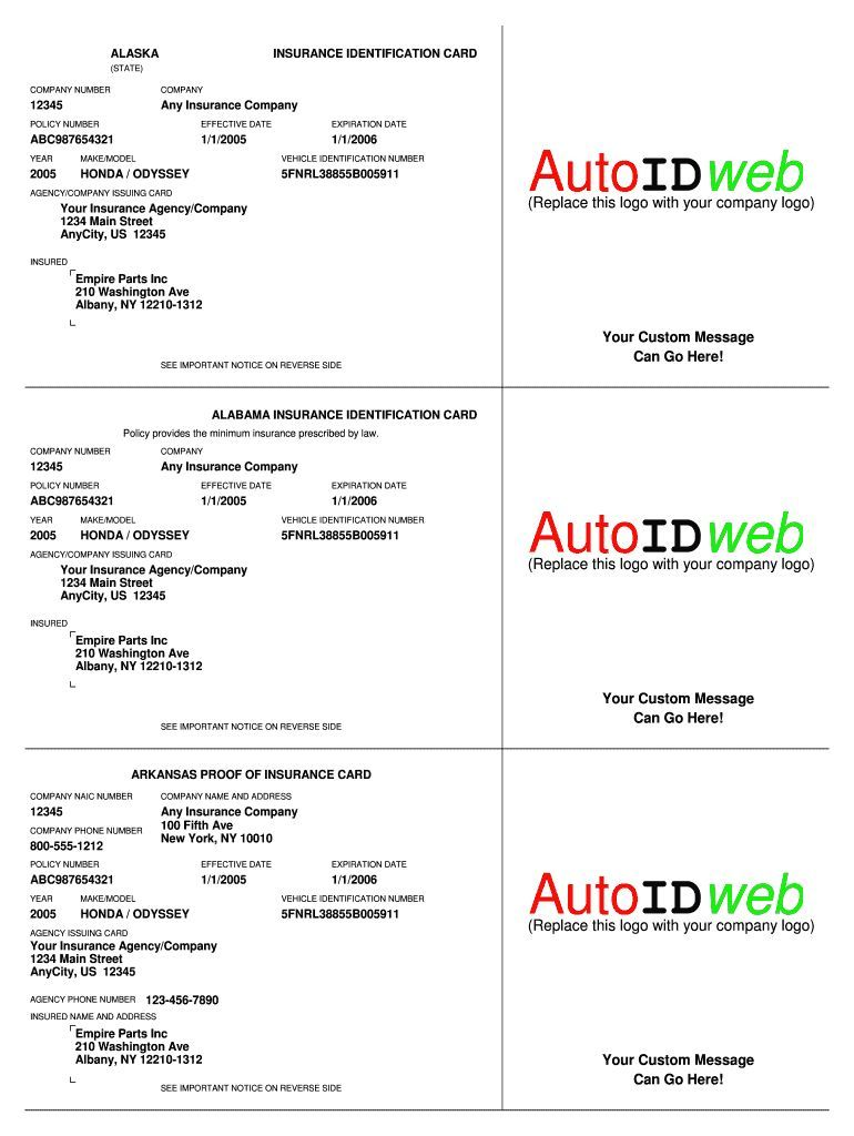 Auto Insurance Card Template Fill Online Printable With Proof