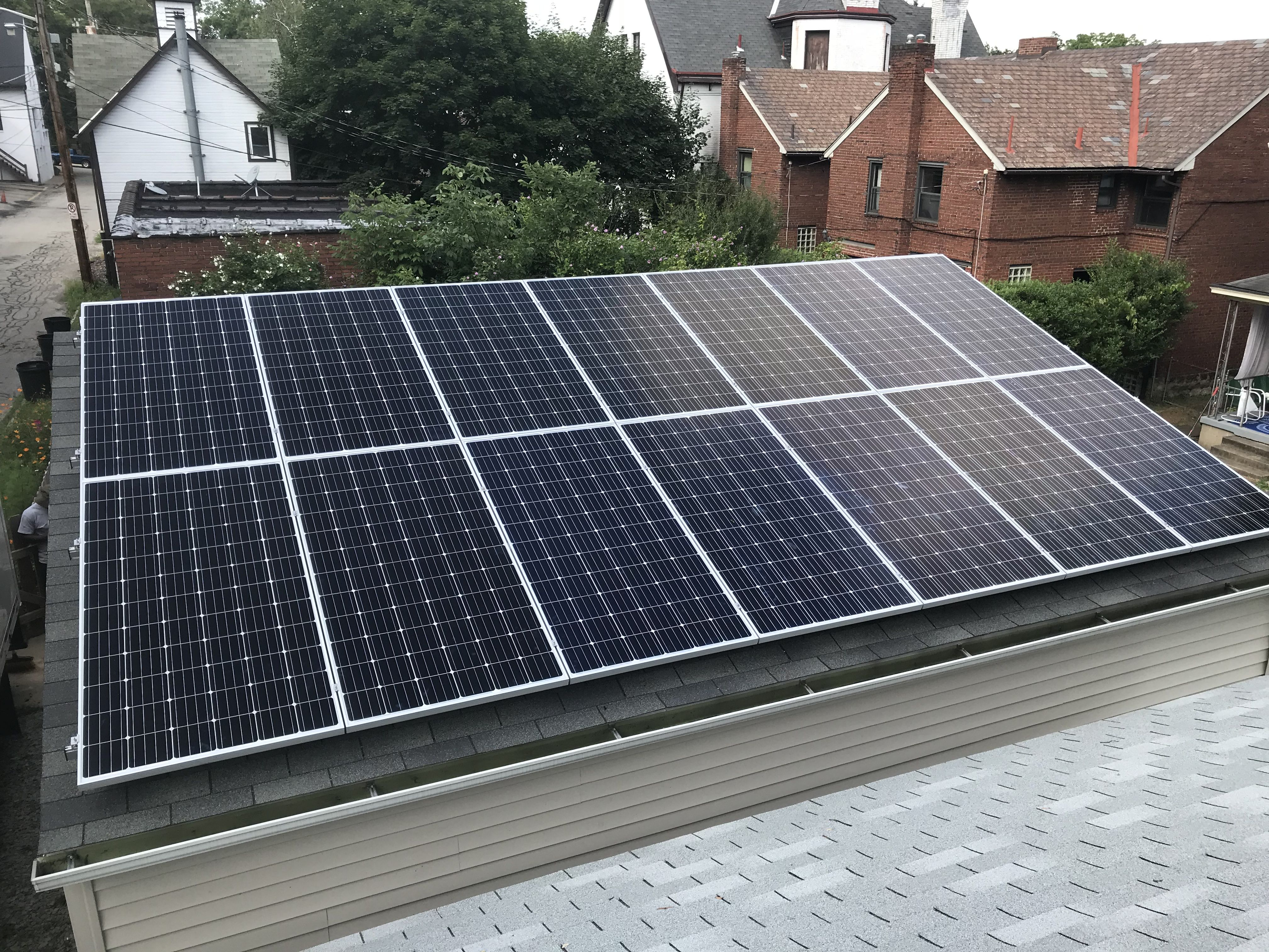 This System Was Installed In Park Place Pittsburgh On A Newly Constructed Garage It Is Expected To Offset Thei Solar Panels Solar Residential Solar