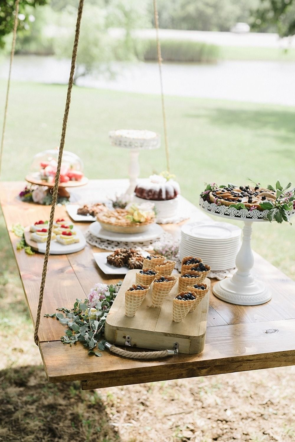 Wedding cake table decoration ideas  Blue Watercolor Inspired Wedding Ideas in the Woods  Dessert table