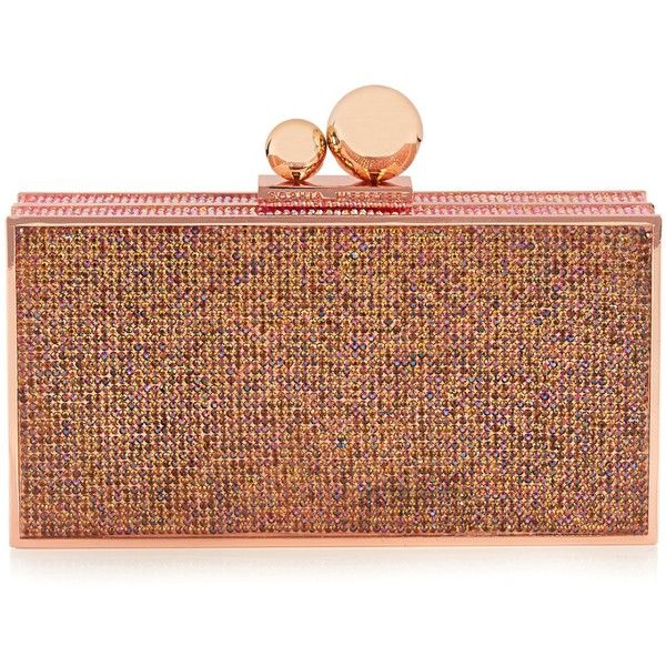 Sophia Webster Clara crystal-embellished box clutch ($445) ❤ liked on Polyvore featuring bags, handbags, clutches, party handbags, party purses, hard clutch, hardcase clutch and brown handbags