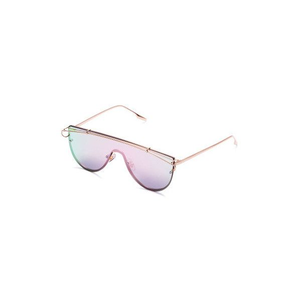 8bbcbc69aa260 SheIn(sheinside) Pink Lens Gold Frame Curved Sunglasses ( 13) ❤ liked on  Polyvore featuring accessories