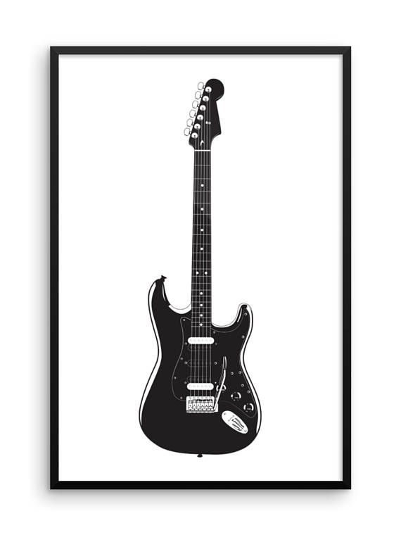 Electric guitar print large wall art gift for guitarists music musical instrument