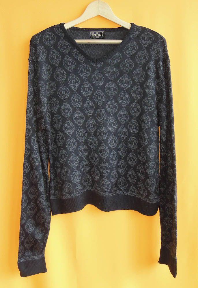 Fendi Roma Acrylic Knit Sweater FF Zucca Pattern Black Vintage Designer Winter V Neck Jumper Made In Italy (27/11) zu1wD