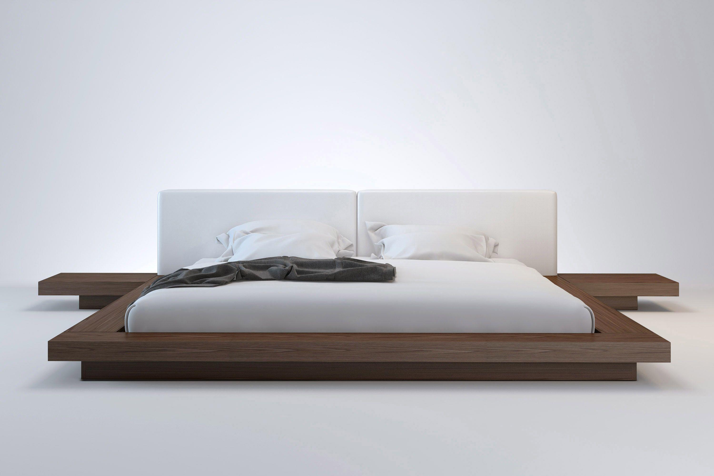 The Japanese Inspired Worth Platform Bed Features A Low Profile Hardwood Frame With Matching Platform Bed Designs Modern Bedroom Furniture Modern Platform Bed