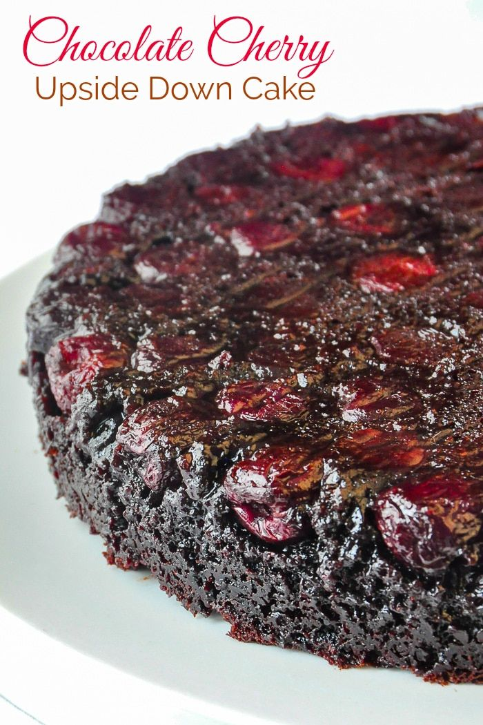 Chocolate Cherry Upside Down Cake. So quick & easy