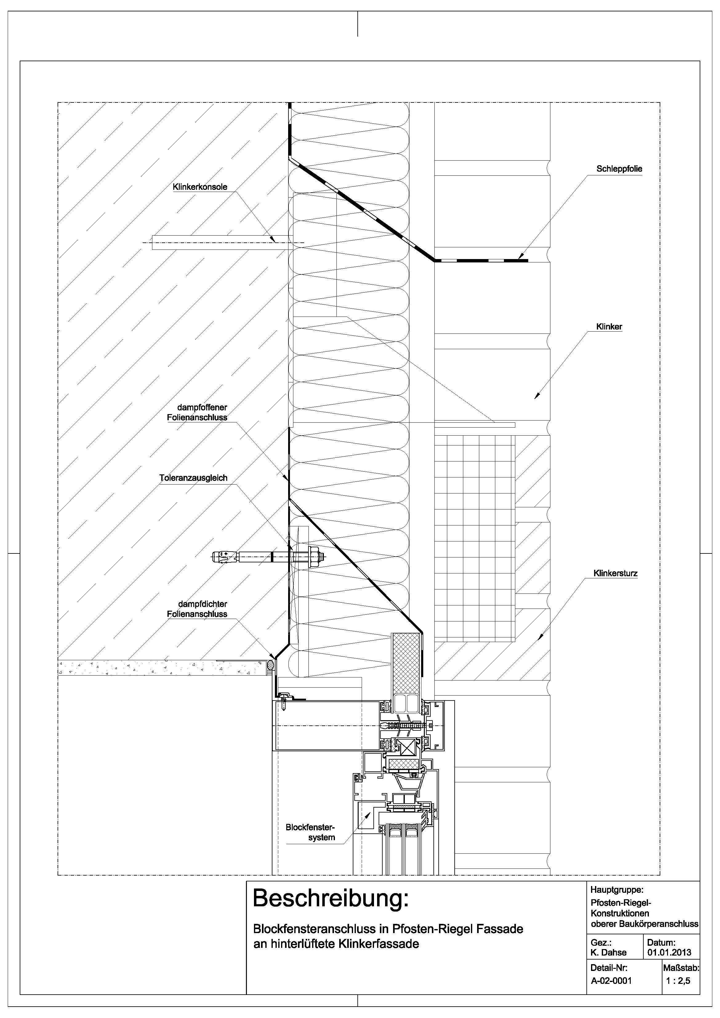 A020001 Blockfensteranschluss in PfostenRiegel Fassade