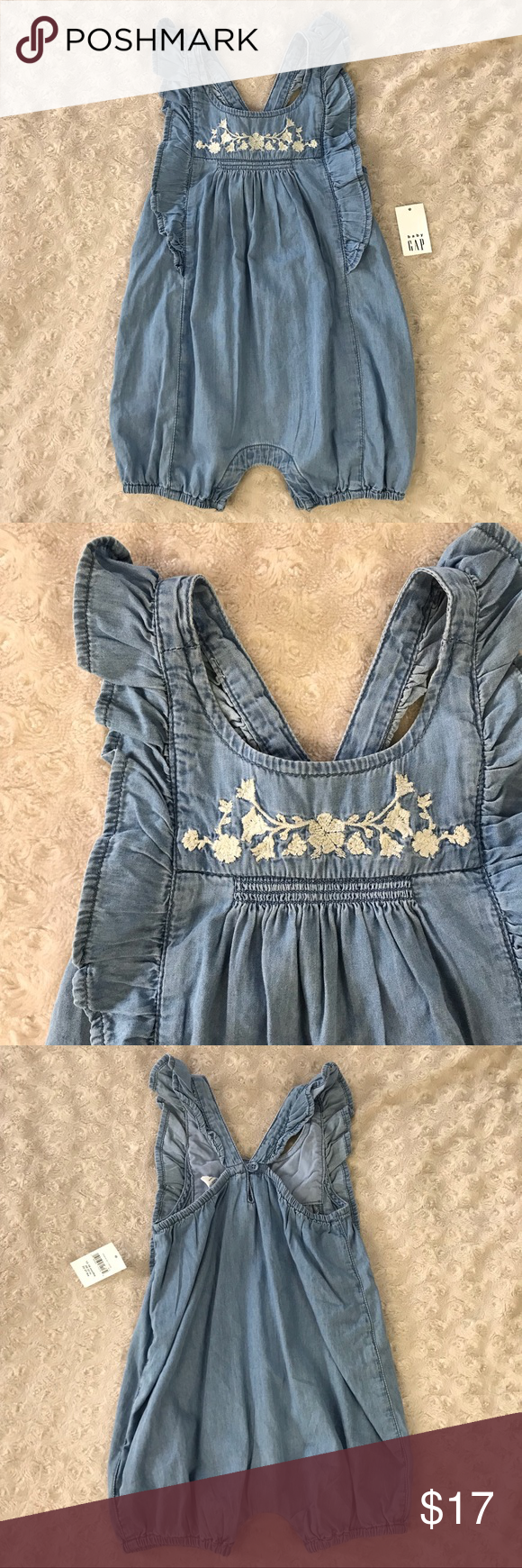 a2ed320add61 Baby Gap Chambray Romper Floral Embroidery Baby Gap Blue Chambray romper  with floral embroidery. Size. Visit. February 2019