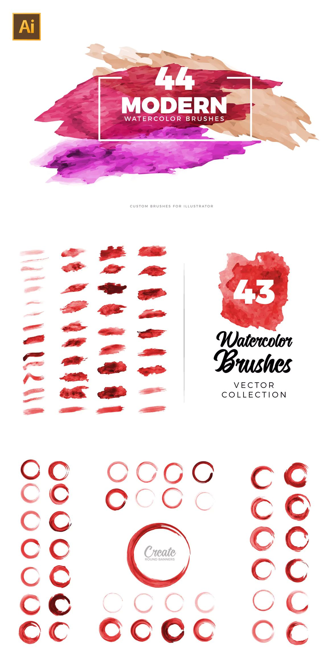 A Large Set of 44 different watercolor brushes for Adobe