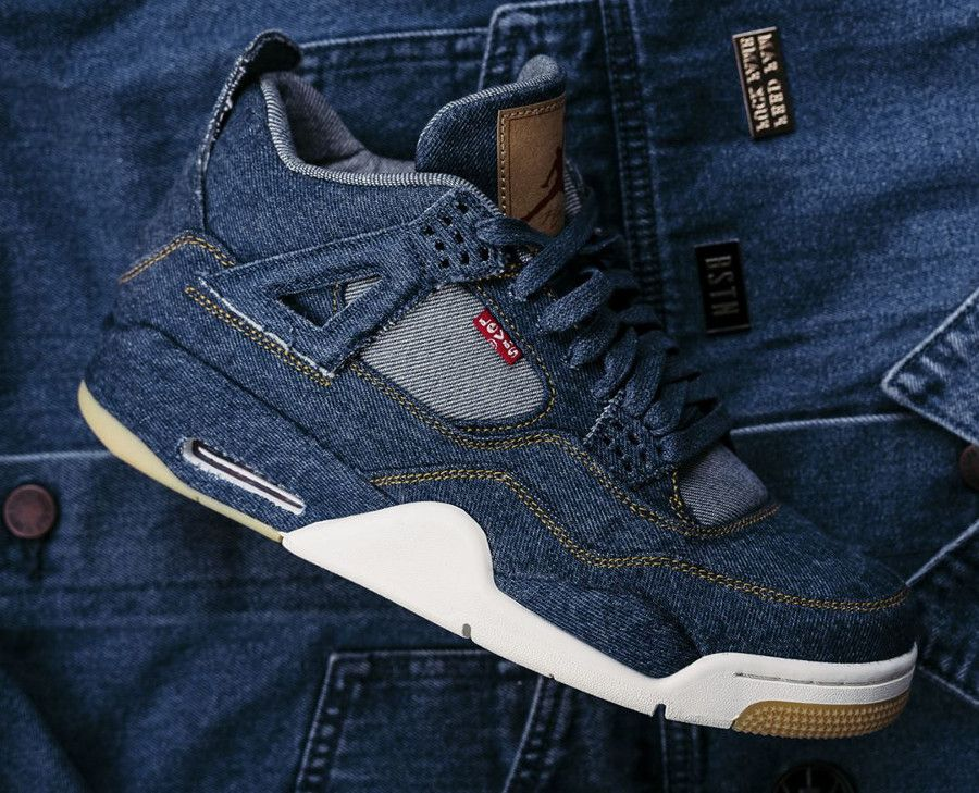 huge discount b019f e3eab Air Jordan IV Premium Levi Strauss (prix   250,00 €), une basket en jeans  bleu indigo (patch de Levi s 501 avec un Jumpman sur la vignette) qui sort  en ...