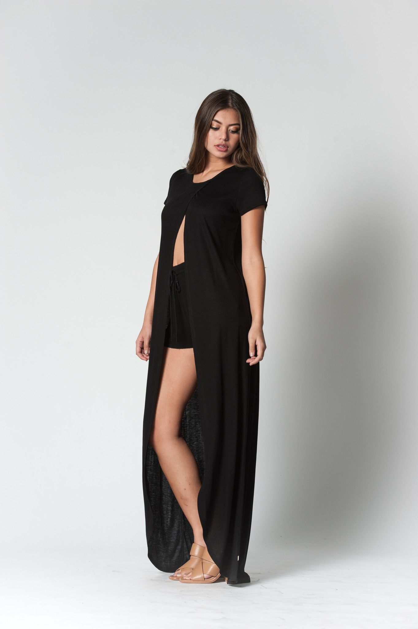 Short Sleeve Split Top in Black