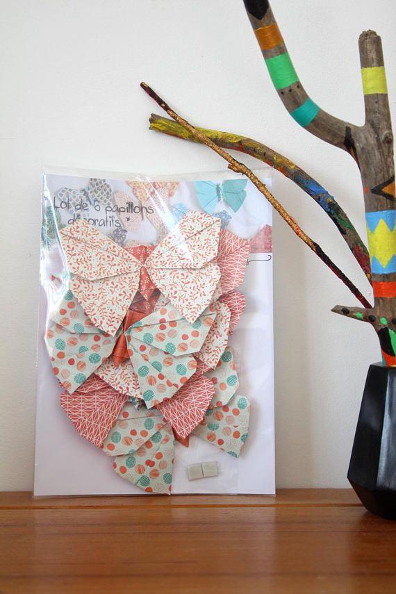 Lot de 6 papillons décoratifs en origami // Décoration murale ...