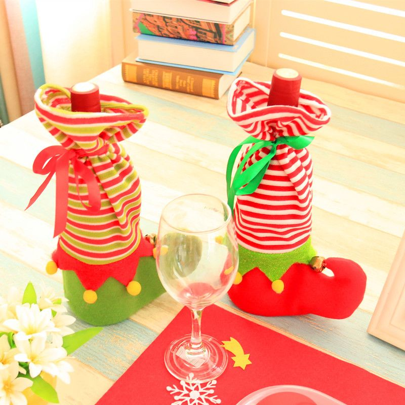 Christmas Dinner Table Decoration for Home Party Red Wine Bottle - christmas decors