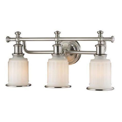 Acadia Brushed Nickel Three Light Bath Fixture
