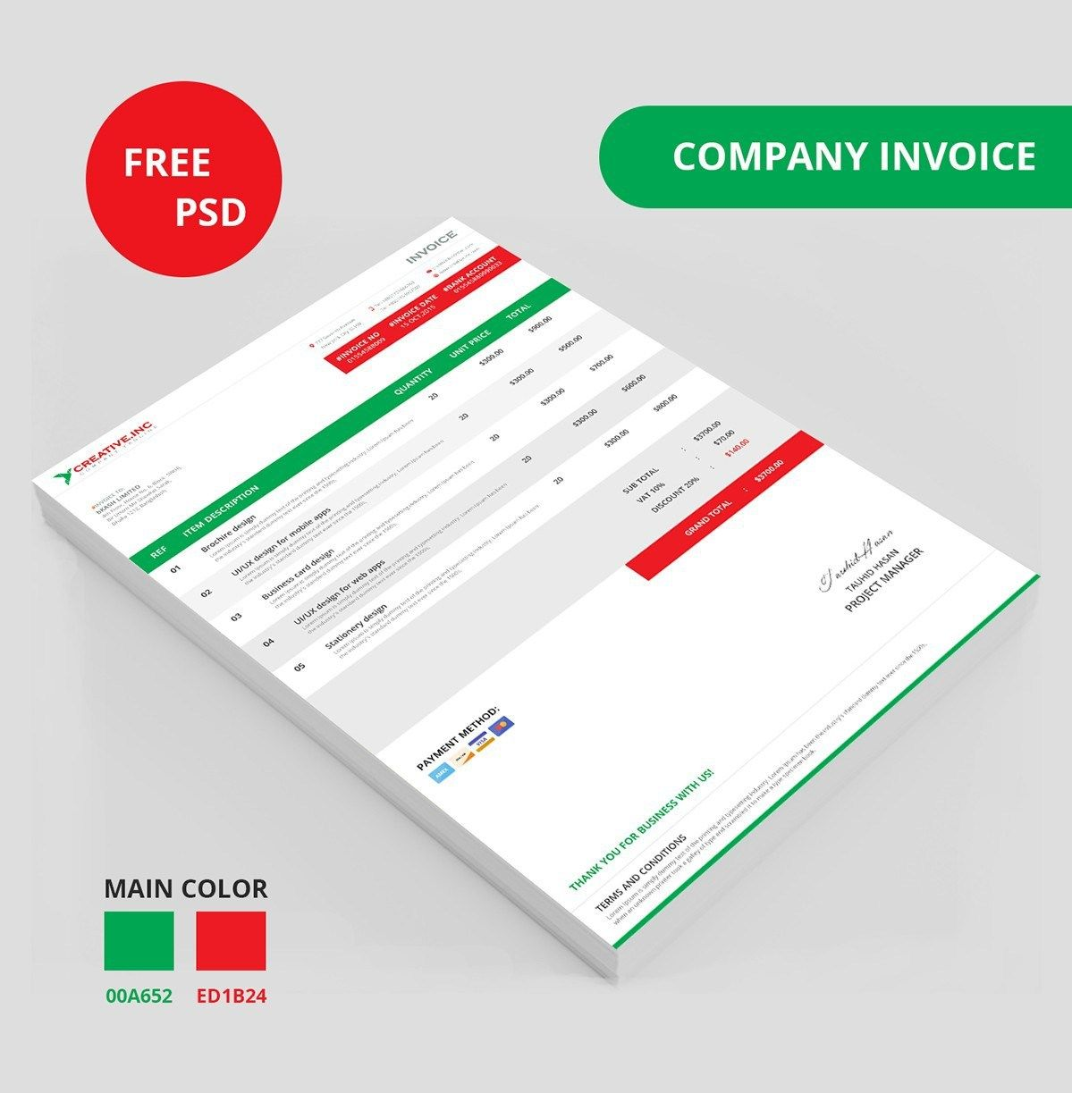 Free Company Invoice Template Psd  Invoice    Template