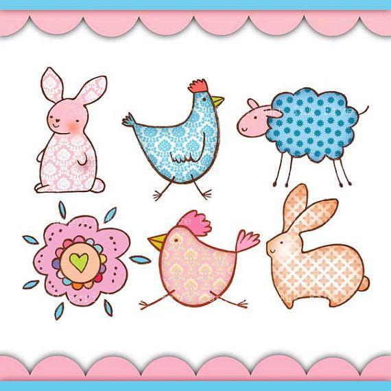 Digital Clip Art Spring Easter Doodles Cute Animals Clipart Images For Digital Scrapbooking Invitations Cards Animal Doodles Cute Animal Clipart Book Art Diy
