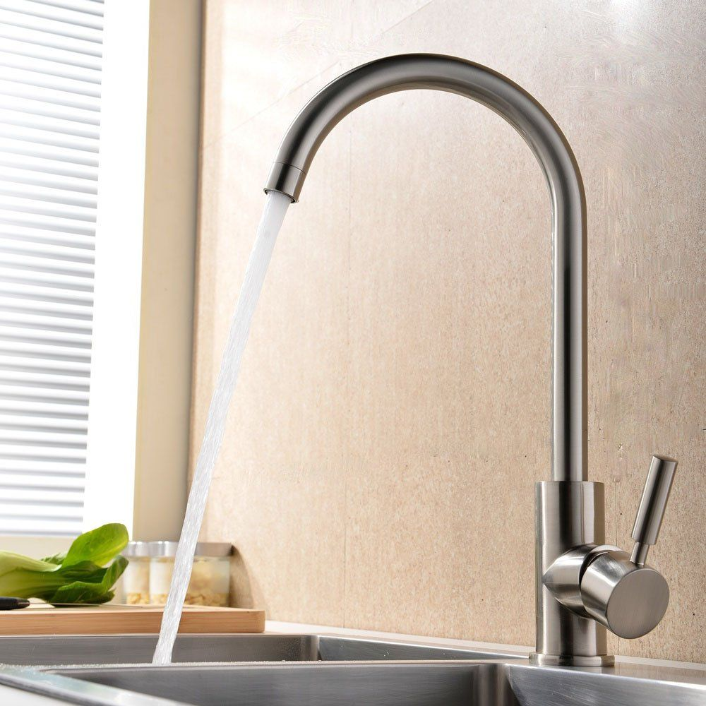 VAPSINT® Modern Simple Single Handle Brushed Steel Kitchen