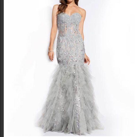 195 ON MERC)JOVANI MERMAID PROM DRESS See through corset torso, with ...