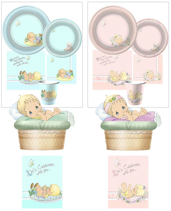 Precious Moments Baby Shower Party Supplies: Boy­ish In Blue? Pre­cious In Pink? We Don't Know Because
