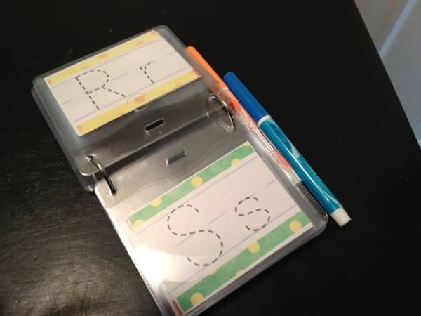 Laminate and use dry erase markers to trace letters
