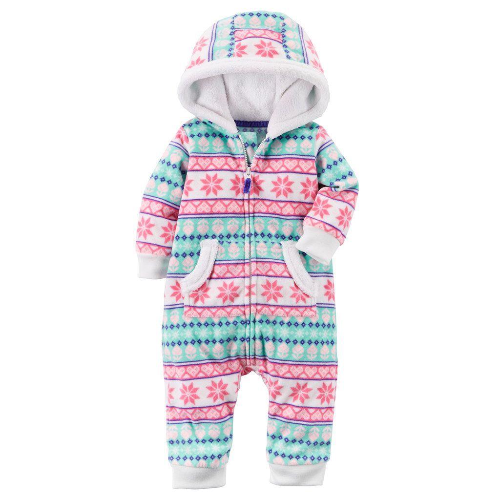 ce882f7ae191 Baby Girl Carter s Fairisle Fleece Hooded Jumpsuit