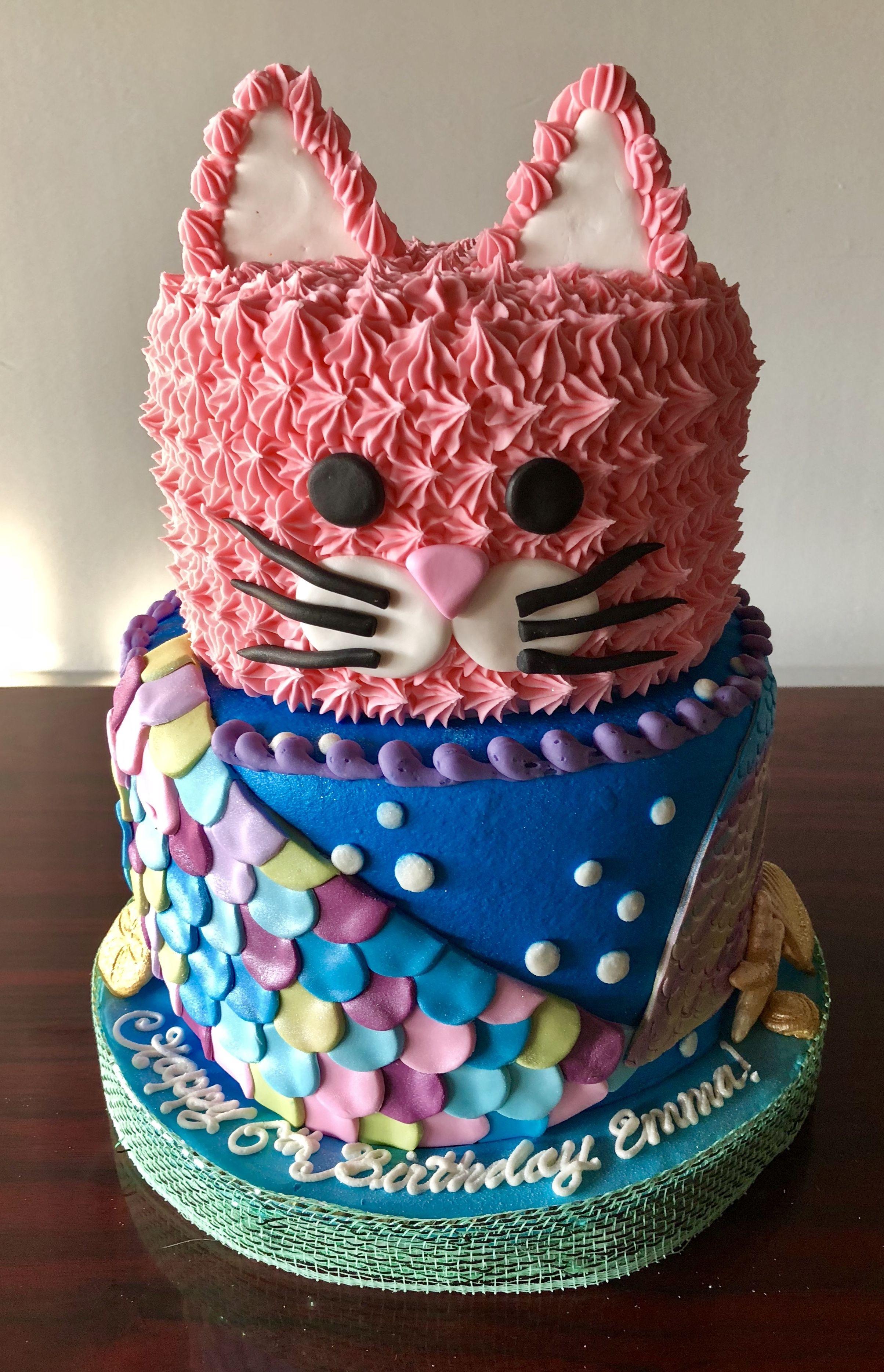 Kitty And Mermaid Cake Adrienne Co Bakery Little Girl Birthday