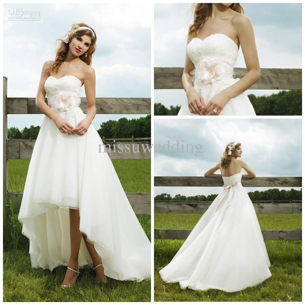 Whole Wedding Dress Best Ing Strapless Short Front Long Back Organza Lace Open
