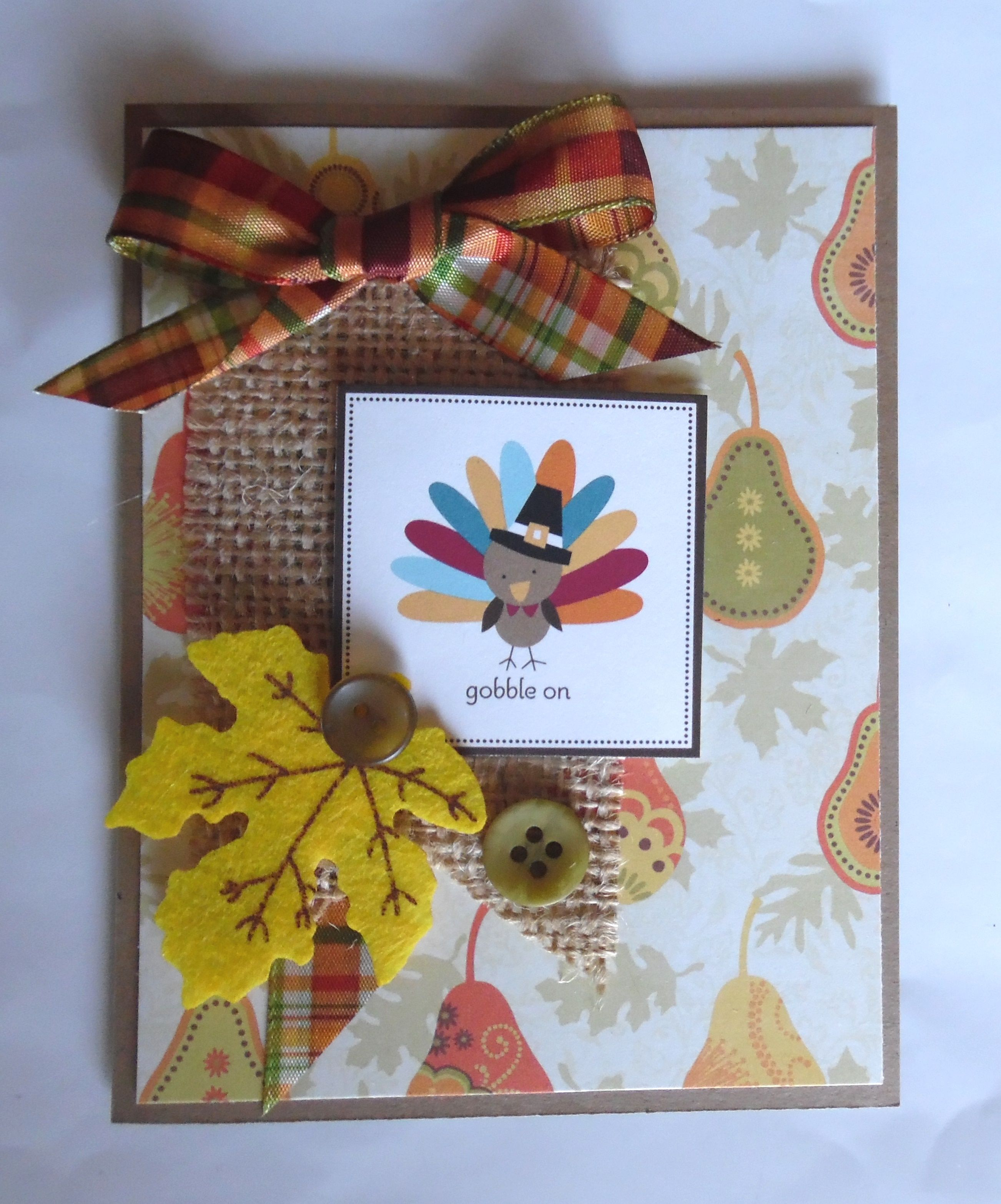 Thanksgiving Card With Burlap Michaels Ribbon Papertreyink