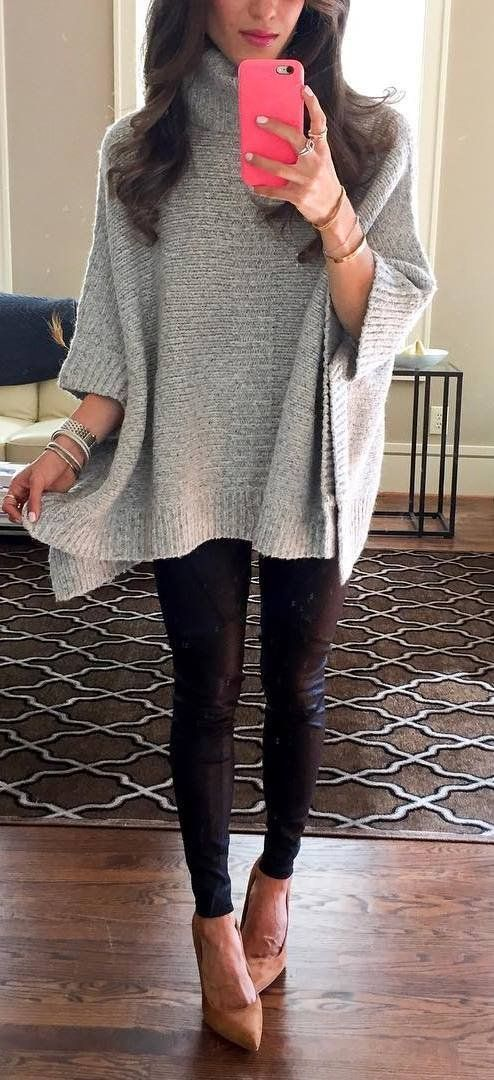 63f0be0f6a4 fashionable winter outfit   grey knit poncho + black skinnies + heels