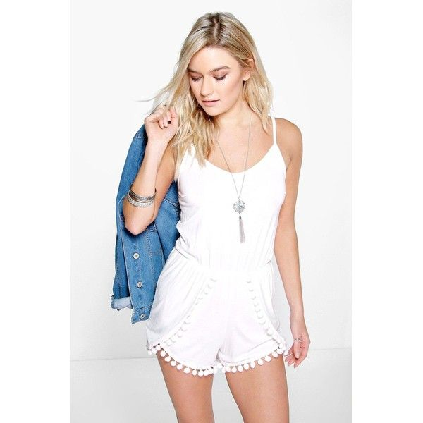 Boohoo Sofia Pom Pom Trim Playsuit ($26) ❤ liked on Polyvore featuring jumpsuits, rompers, ivory, pom pom romper, party rompers, white romper, playsuit romper and white jersey