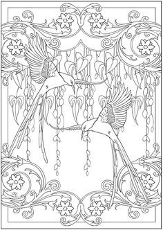 colibris art nouveau beautiful book of designs someday when i learn how to create stained - Art Nouveau Coloring Book