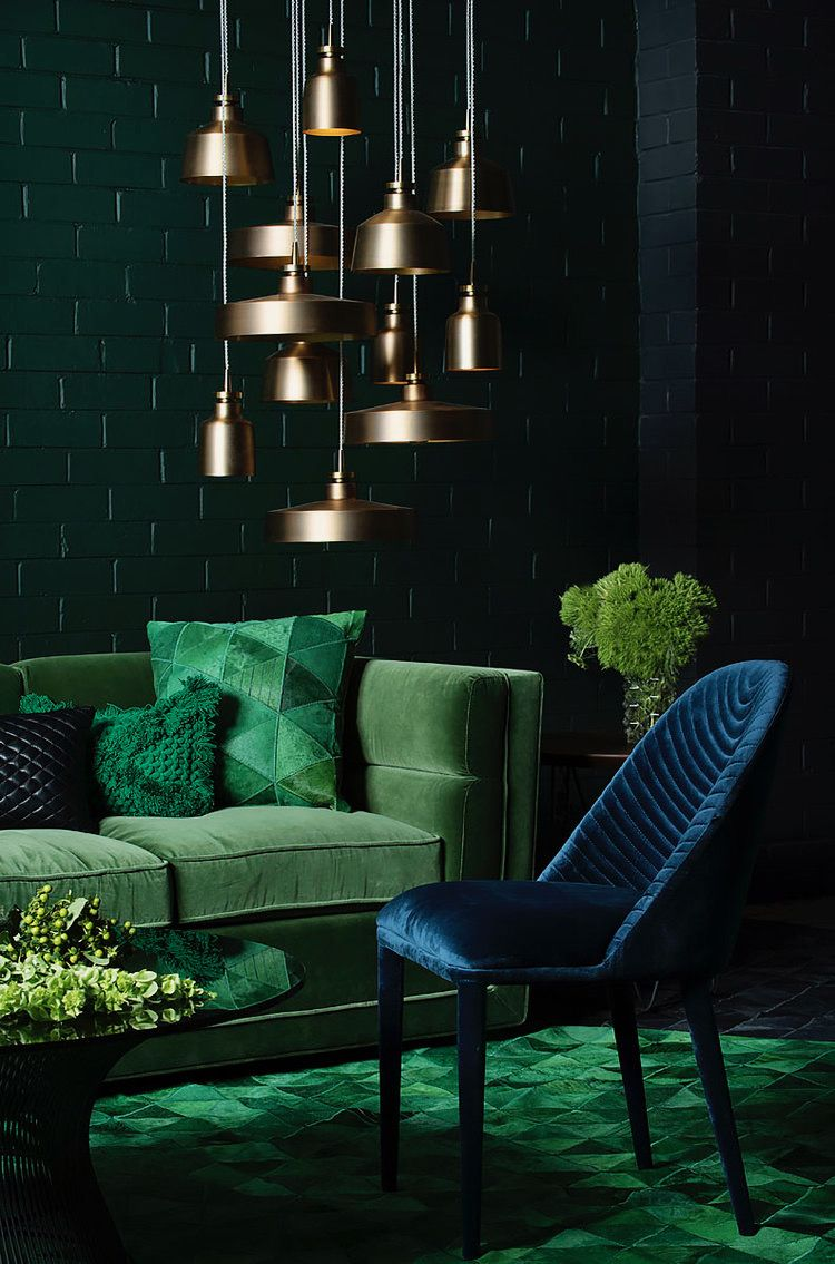 Idee Deco Suspension Salon camaïeu de vert dans la decoration avec accumulation de