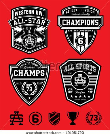Athletic patch emblems - stock vector | kor inspo | Logo