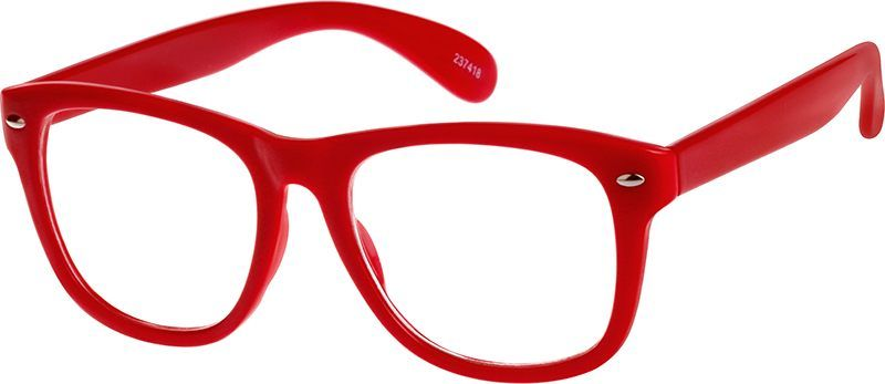 Zenni Square Prescription Eyeglasses Red Plastic