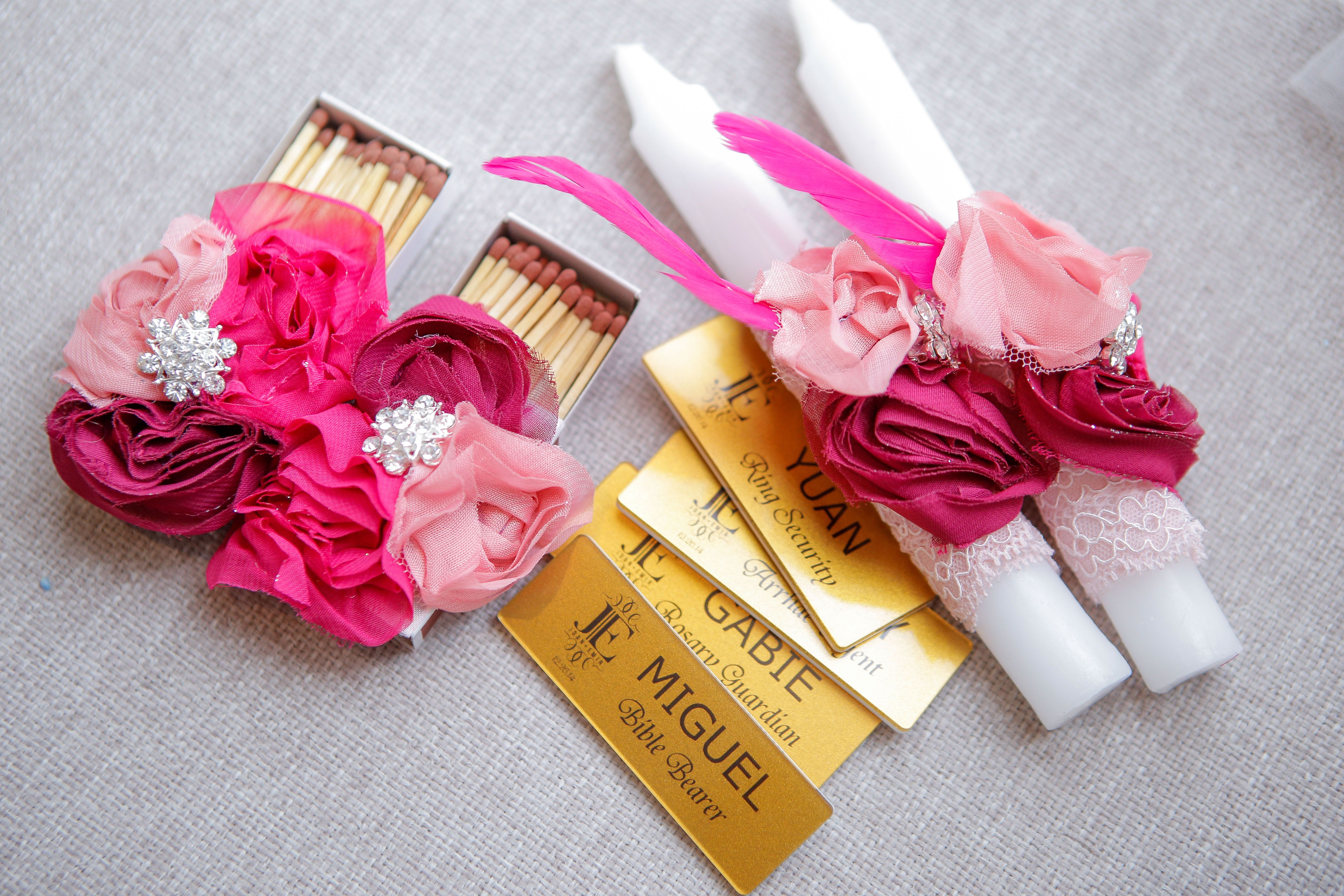Matching Matches and Candles, shades of pink, name tags for bearers ...