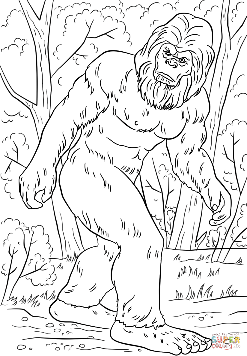 Bigfoot Super Coloring Coloring Pages Bigfoot Art Camping Coloring Pages