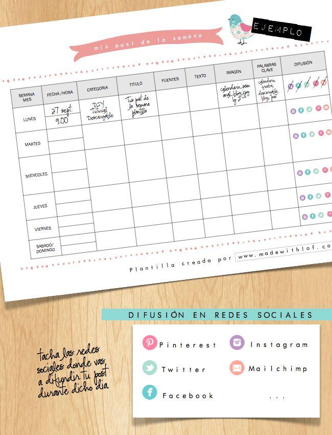 social calendar for blogs. Calendario semanal para organizar tu blog ...