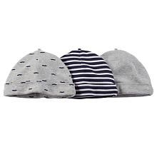 Carter s Boys 3 Pack Assorted Navy Striped Light Grey Mustache Print Heather  Grey Hats- 0-3 Months eff6bd2661c4