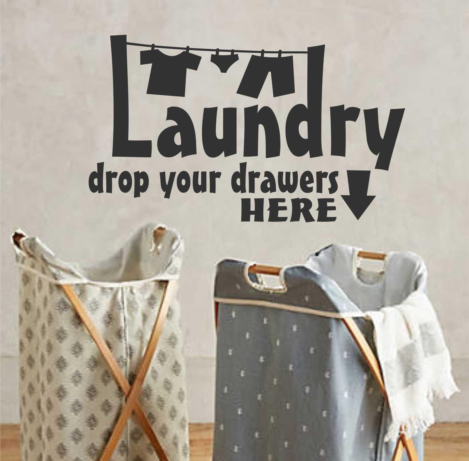 Laundry Vinyl Decal Laundry Drop Drawers  Clothesline Vinyl Decal  Lettering  Vinyl