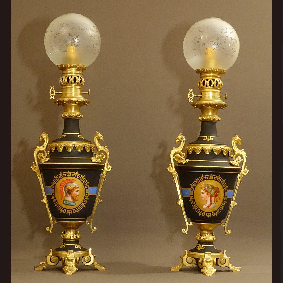Paire de lampes mod rateur l 39 antique xix me lampes anciennes lampe a petrole lampe - Lampes de salon anciennes ...