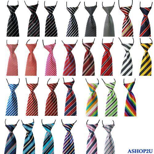 New School Boys Childrens Kids Clip On Elastic Tie Necktie Diffrent Styles | eBay  some nice stripey ties for a good price! odd fastening though...